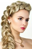 pic of natural blonde  - Portrait of young blonde woman with fishtail hair - JPG