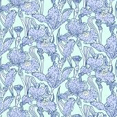 Vintage vector pattern with field of iris flowers