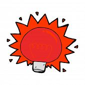 cartoon flashing red light bulb