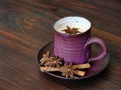 picture of latte  - Traditional chai tea with milk  - JPG