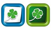 Set Of Two Icons With Paper And Cloverleaf