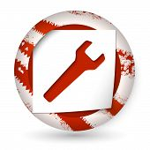 Red Abstract Icon With Paper And Spanner