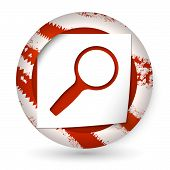 Red Abstract Icon With Paper And Magnifier