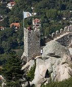 Tower of the Castle of the Moors in Sintra, Portugal.