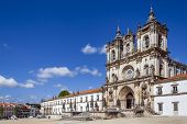 Alcobaca, Portugal - July 17, 2013: Alcobaca Monastery, a masterpiece of the Gothic architecture. Ci