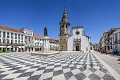 Tomar, Portugal - July 18, 2013: Republica Square in Tomar, with Sao Joao Baptista Church and Gualdi