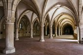 Alcobaca, Portugal - July 17, 2013: Alcobaca Monastery Dormitory. Masterpiece of the Gothic architec