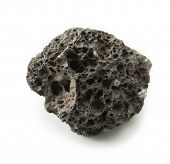 Piece of Lava stone, pumice stone, or volcanic pumice isolated on white.