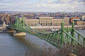 Liberty Bridge Over Danube River In Budapest