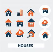 houses, building icons, signs, elements set, vector