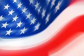 stock photo of usa flag  - Close Up of Segment of Moving USA Flag - JPG