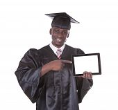 Graduation Man Showing Tablet Pc