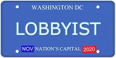 foto of lobbyist  - An imitation Washington DC License Plate with the word LOBBYIST and Nation - JPG