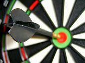 Macro Dart Hitting Bullseye