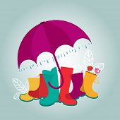 Umbrella rain boots leaves birds