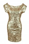 Golden sequin dress isolated on white