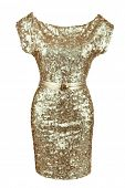 Golden sequin dress with golden belt, isolated on white