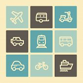 Transport web icons, buttons set