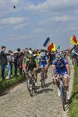 Cyclists Riding Paris-roubaix 2014