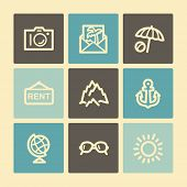 Travel web icons, buttons set