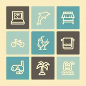 Vacation web icons, buttons set