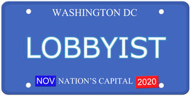 stock photo of lobbyist  - An imitation Washington DC License Plate with the word LOBBYIST and Nation - JPG