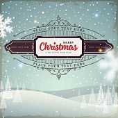 Merry Christmas and Happy New Year 2015 Label. Abstract Winter Background for Holiday Cards and Posters Design.