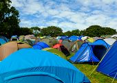 Rows of tents, festival campsite