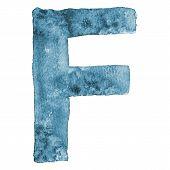 Watercolor vector capital letter F