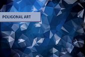 Abstract triangular blue background with polygonal abstract shapes
