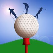 Golf Ball With Golfers Silhouette