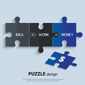 Illustration of piece of puzzle showing business equation