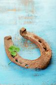 foto of wooden horse  - Old horse shoe - JPG