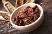 Pecans In The Wooden Bowl
