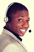Support phone operator  call center  in headset