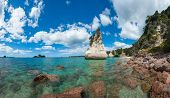 Beautiful Te Hoho Rock at Cathedral Cove Marine Reserve, Coromandel Peninsula, New Zealand. Panoramic photo