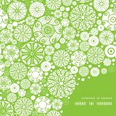 Vector abstract green and white circles frame corner pattern background