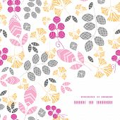 Vector abstract pink, yellow and gray leaves frame corner pattern background