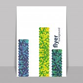 Flyer or Cover Design with Triangle Mosaic Pattern - Blue, Yellow and Green