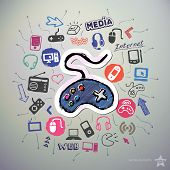 Hand drawn media icons set and sticker with game pad