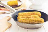the roasted corn on pan