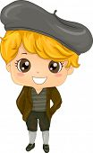 pic of newsboy  - Illustration Featuring a Boy Wearing a Traditional French Costume - JPG