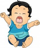 Illustration Featuring a Baby Yawning While Stretching His Arms