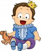 Illustration Featuring a Baby Dressed as a Prince