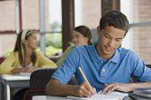 Mixed race teenager doing homework