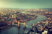 London aerial view with  Tower Bridge in sunset time