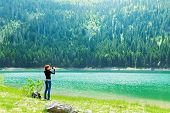 Traveler at the lake