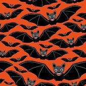 image of vampire bat  - Vampire bats on orange background - JPG