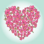 Beautiful Pink Pansy Heart Background For Valentines Day Design. Vector