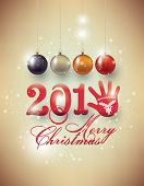 Happy new year 2015 with glove. Text Design
